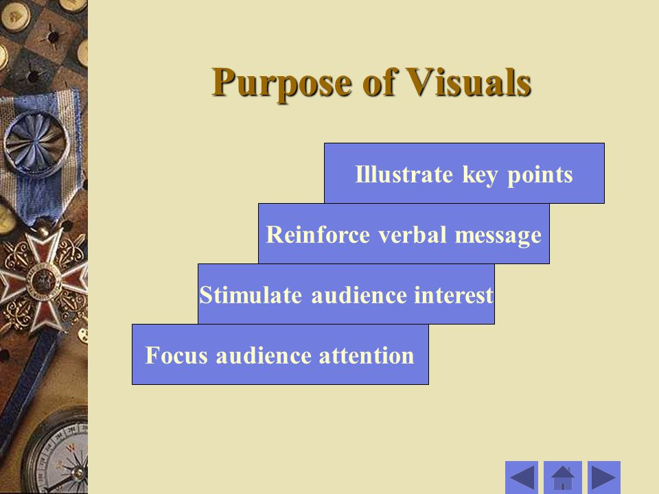 Purpose of Visuals Illustrate key points Reinforce verbal message Stimulate audience interest Focus audience attention