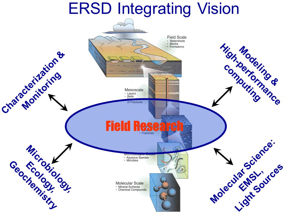 Microbiology, Ecology, Geochemistry Modeling & High-performance computing Characterization & Monitoring Molecular Science: EMSL, Light Sources Field Research ERSD Integrating Vision
