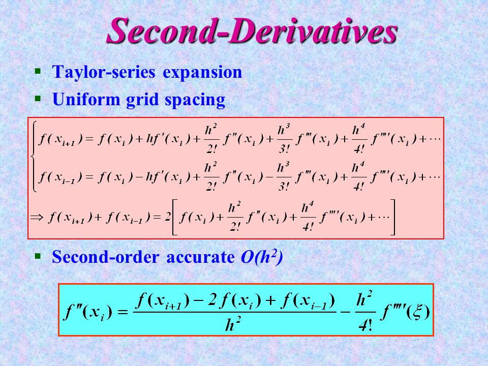 Second-Derivatives §Taylor-series expansion §Uniform grid spacing §Second-order accurate O(h 2 )