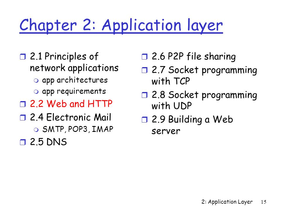 2: Application Layer15 Chapter 2: Application layer r 2.1 Principles of network applications m app architectures m app requirements r 2.2 Web and HTTP r 2.4 Electronic Mail m SMTP, POP3, IMAP r 2.5 DNS r 2.6 P2P file sharing r 2.7 Socket programming with TCP r 2.8 Socket programming with UDP r 2.9 Building a Web server