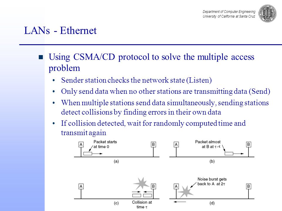 Department of Computer Engineering University of California at Santa Cruz LANs - Ethernet n Using CSMA/CD protocol to solve the multiple access problem Sender station checks the network state (Listen) Only send data when no other stations are transmitting data (Send) When multiple stations send data simultaneously, sending stations detect collisions by finding errors in their own data If collision detected, wait for randomly computed time and transmit again