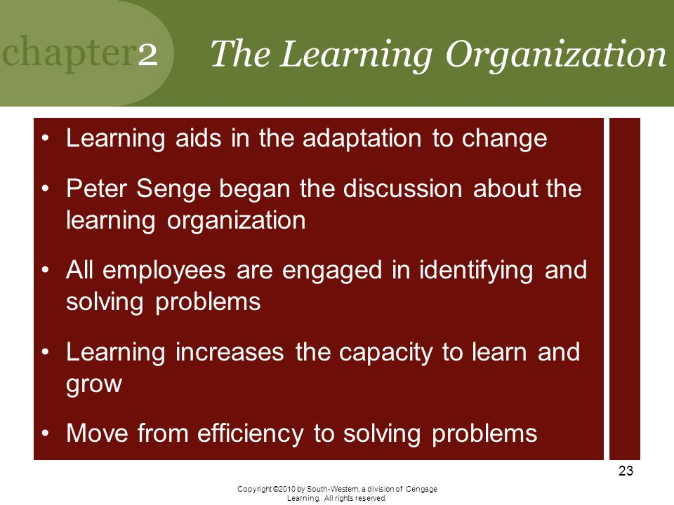 chapter2 Copyright ©2010 by South-Western, a division of Cengage Learning. All rights reserved. 23 The Learning Organization Learning aids in the adap
