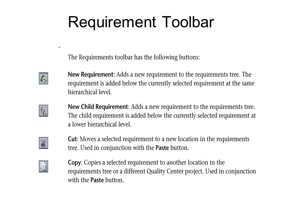 Requirement Toolbar