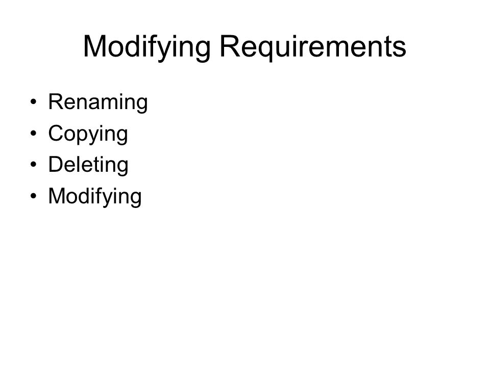 Modifying Requirements Renaming Copying Deleting Modifying