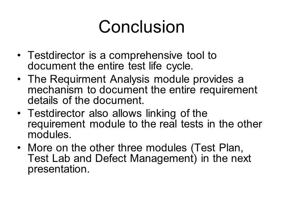 mercury quality center formerly test director topics covered  28 conclusion testdirector
