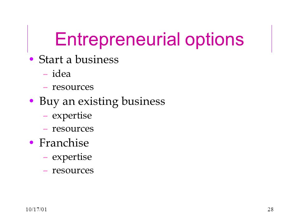 10/17/0128 Entrepreneurial options Start a business –idea –resources Buy an existing business –expertise –resources Franchise –expertise –resources
