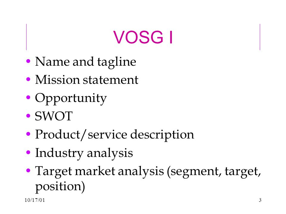 10/17/013 VOSG I Name and tagline Mission statement Opportunity SWOT Product/service description Industry analysis Target market analysis (segment, target, position)