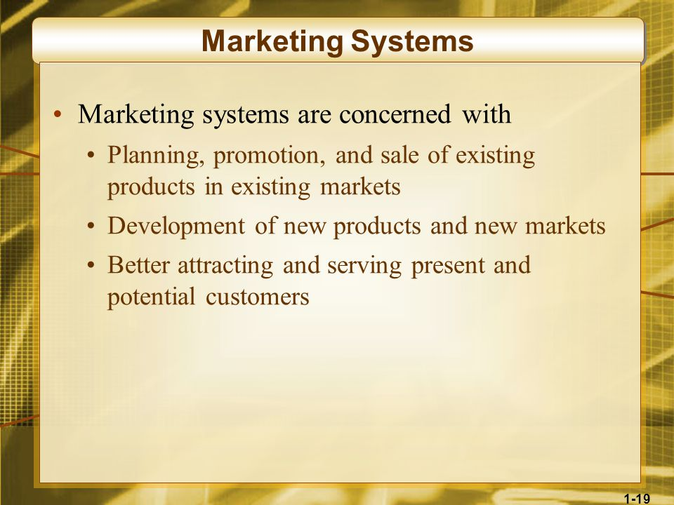 1-19 Marketing Systems Marketing systems are concerned with Planning, promotion, and sale of existing products in existing markets Development of new products and new markets Better attracting and serving present and potential customers