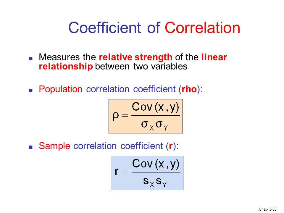 Chap 3-38 Coefficient of Correlation Measures the relative strength of the linear relationship between two variables Population correlation coefficient (rho): Sample correlation coefficient (r):