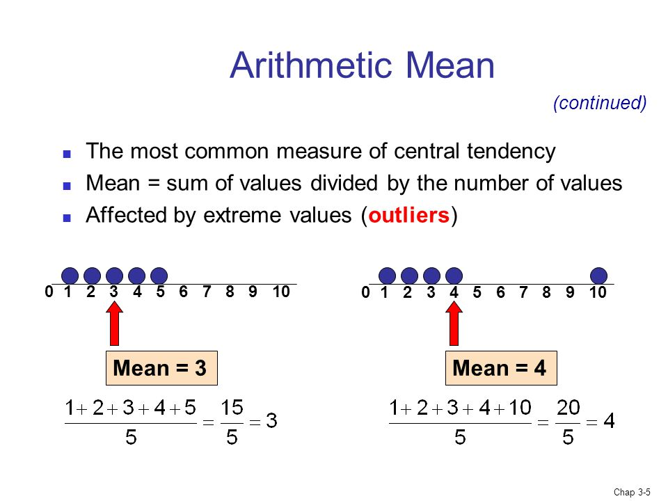Chap 3-5 Arithmetic Mean The most common measure of central tendency Mean = sum of values divided by the number of values Affected by extreme values (outliers) (continued) Mean = Mean = 4