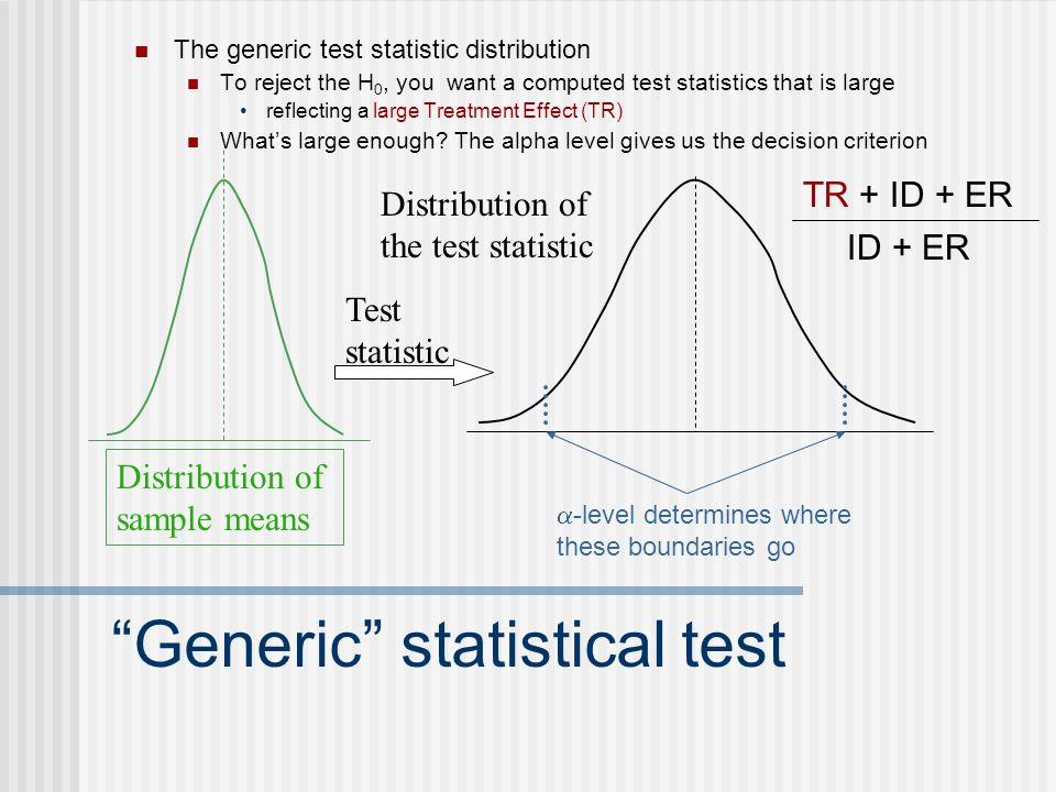 Generic statistical test The generic test statistic distribution To reject the H 0, you want a computed test statistics that is large reflecting a large Treatment Effect (TR) What's large enough.