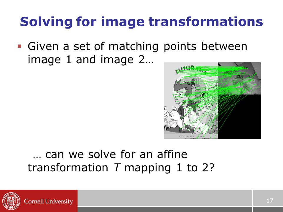 Solving for image transformations  Given a set of matching points between image 1 and image 2… … can we solve for an affine transformation T mapping 1 to 2.
