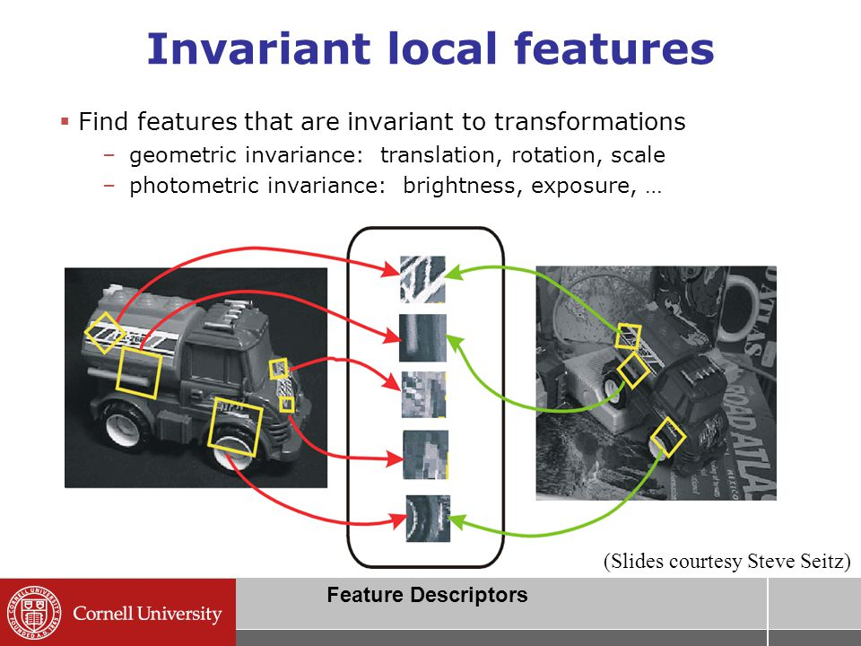 Invariant local features  Find features that are invariant to transformations –geometric invariance: translation, rotation, scale –photometric invariance: brightness, exposure, … Feature Descriptors (Slides courtesy Steve Seitz)