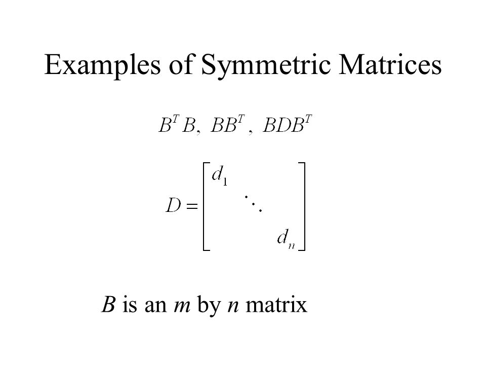 Examples of Symmetric Matrices B is an m by n matrix