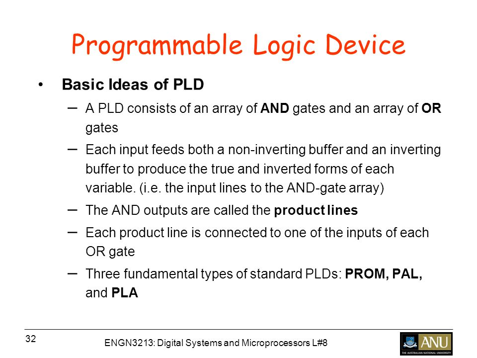 ENGN3213: Digital Systems and Microprocessors L#8 32 Programmable Logic Device Basic Ideas of PLD – A PLD consists of an array of AND gates and an array of OR gates – Each input feeds both a non-inverting buffer and an inverting buffer to produce the true and inverted forms of each variable.