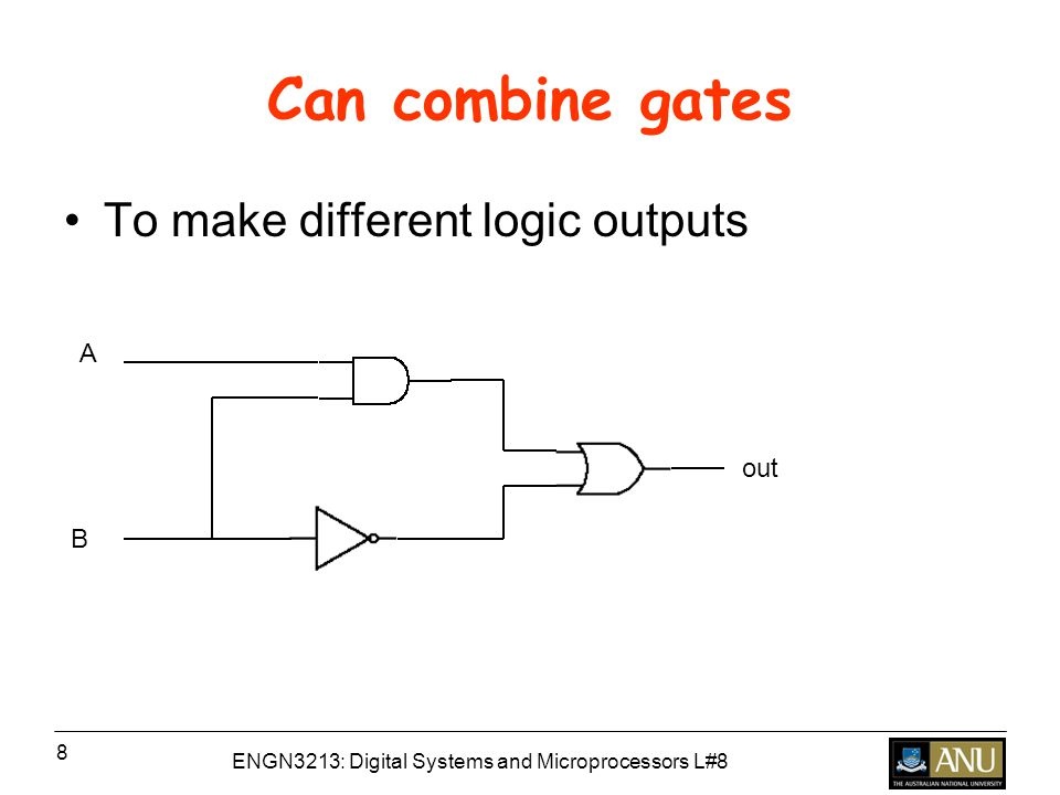 ENGN3213: Digital Systems and Microprocessors L#8 8 Can combine gates To make different logic outputs B A out