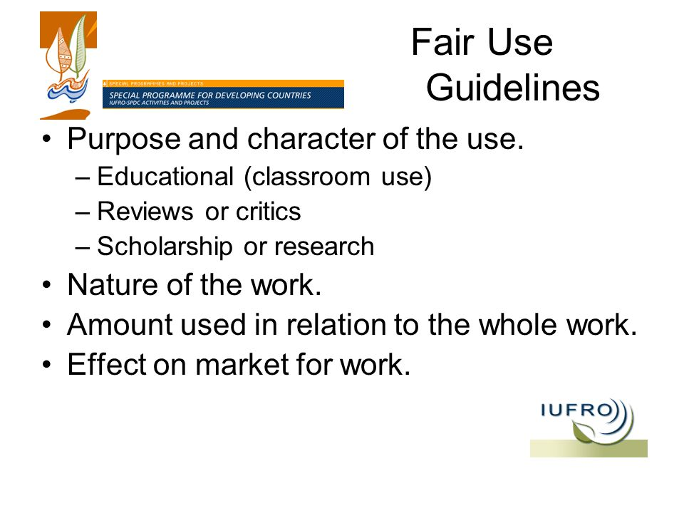 Fair Use Guidelines Purpose and character of the use.