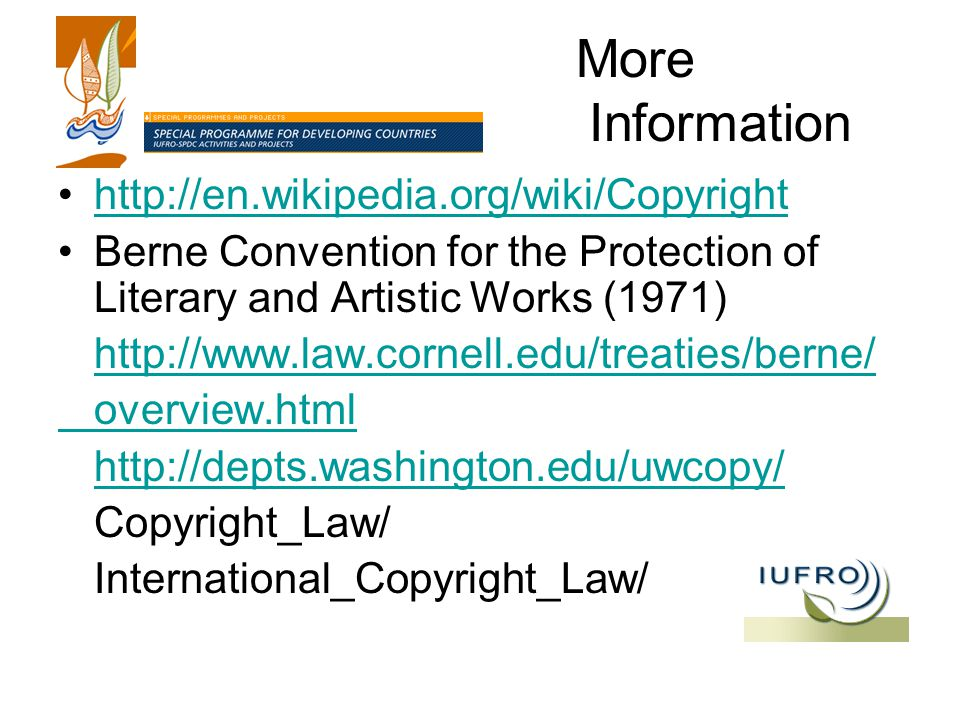 More Information   Berne Convention for the Protection of Literary and Artistic Works (1971)   overview.html   Copyright_Law/ International_Copyright_Law/