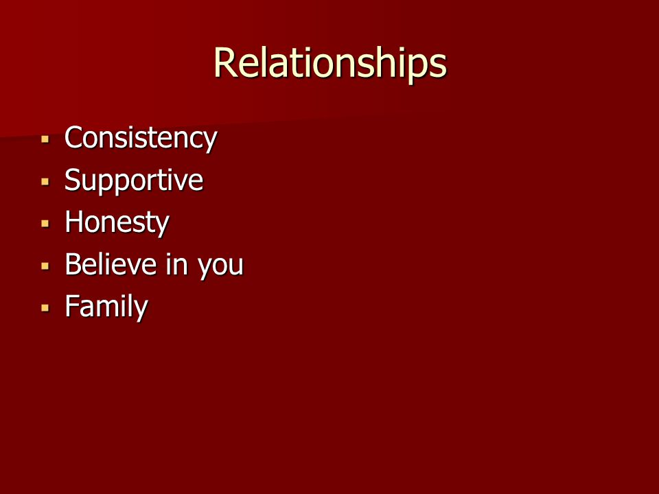 Relationships  Consistency  Supportive  Honesty  Believe in you  Family