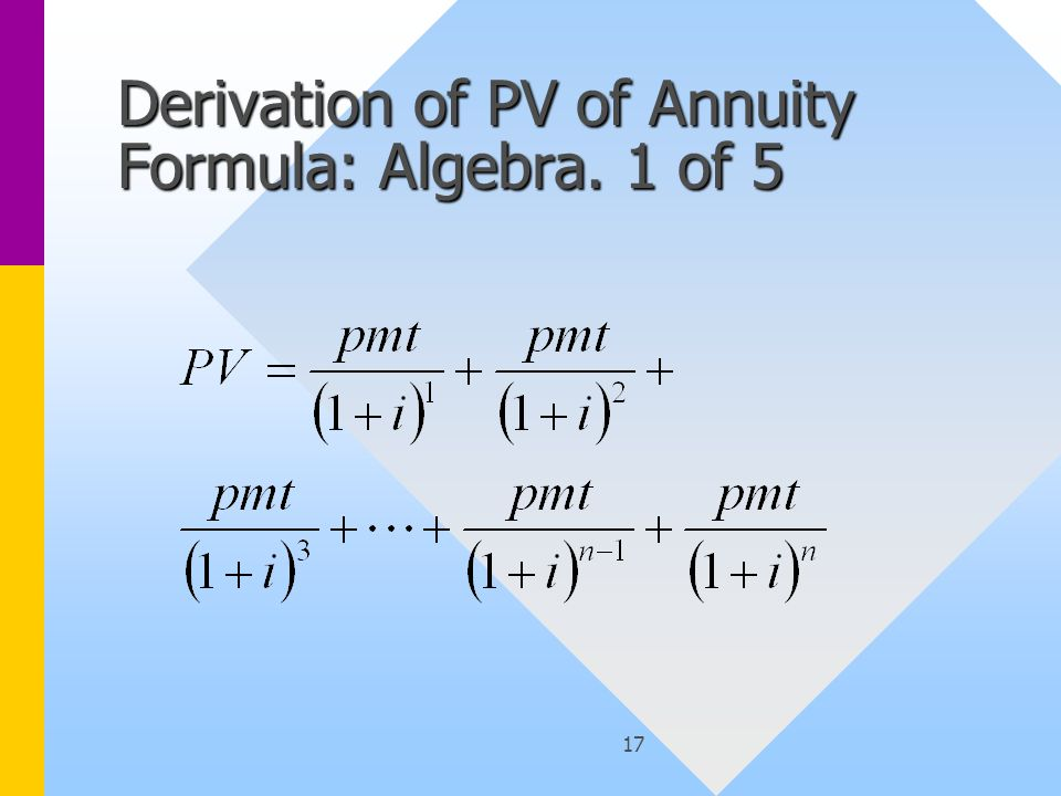 17 Derivation of PV of Annuity Formula: Algebra. 1 of 5