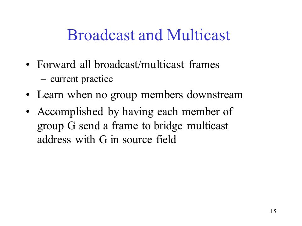 15 Broadcast and Multicast Forward all broadcast/multicast frames –current practice Learn when no group members downstream Accomplished by having each member of group G send a frame to bridge multicast address with G in source field