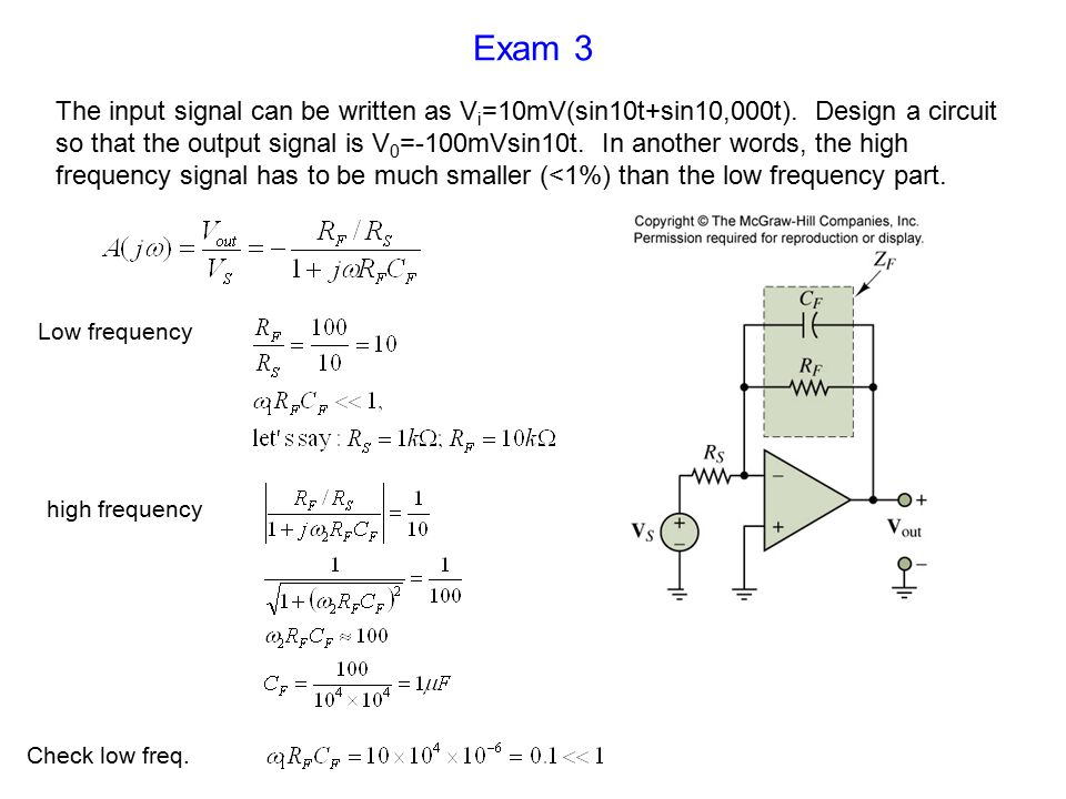 Exam 3 The input signal can be written as V i =10mV(sin10t+sin10,000t).