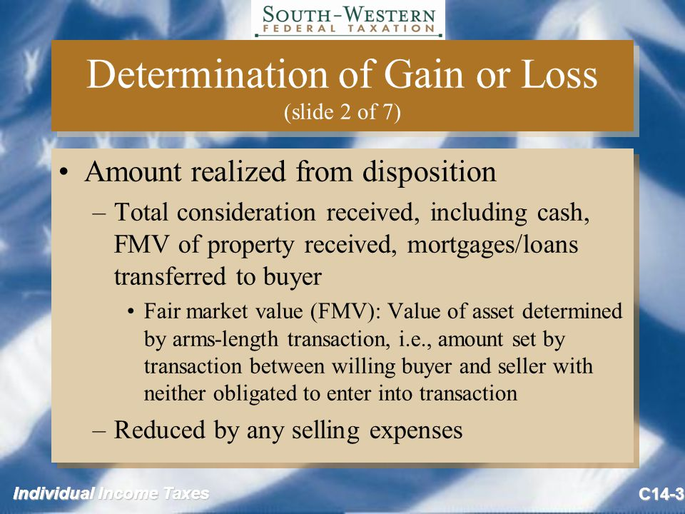 Individual Income Taxes C14-3 Determination of Gain or Loss (slide 2 of 7) Amount realized from disposition –Total consideration received, including cash, FMV of property received, mortgages/loans transferred to buyer Fair market value (FMV): Value of asset determined by arms-length transaction, i.e., amount set by transaction between willing buyer and seller with neither obligated to enter into transaction –Reduced by any selling expenses Amount realized from disposition –Total consideration received, including cash, FMV of property received, mortgages/loans transferred to buyer Fair market value (FMV): Value of asset determined by arms-length transaction, i.e., amount set by transaction between willing buyer and seller with neither obligated to enter into transaction –Reduced by any selling expenses