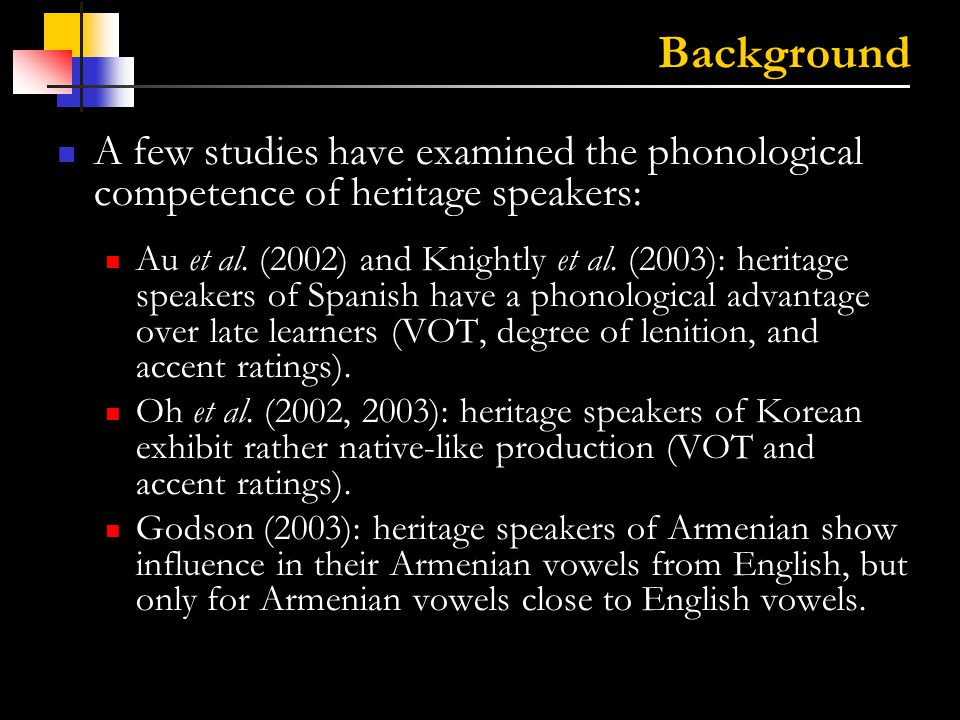 3 Background This study compares fricative production in heritage speakers of Mandarin to that of native Mandarin speakers and that of native English speakers learning Mandarin as a foreign language.
