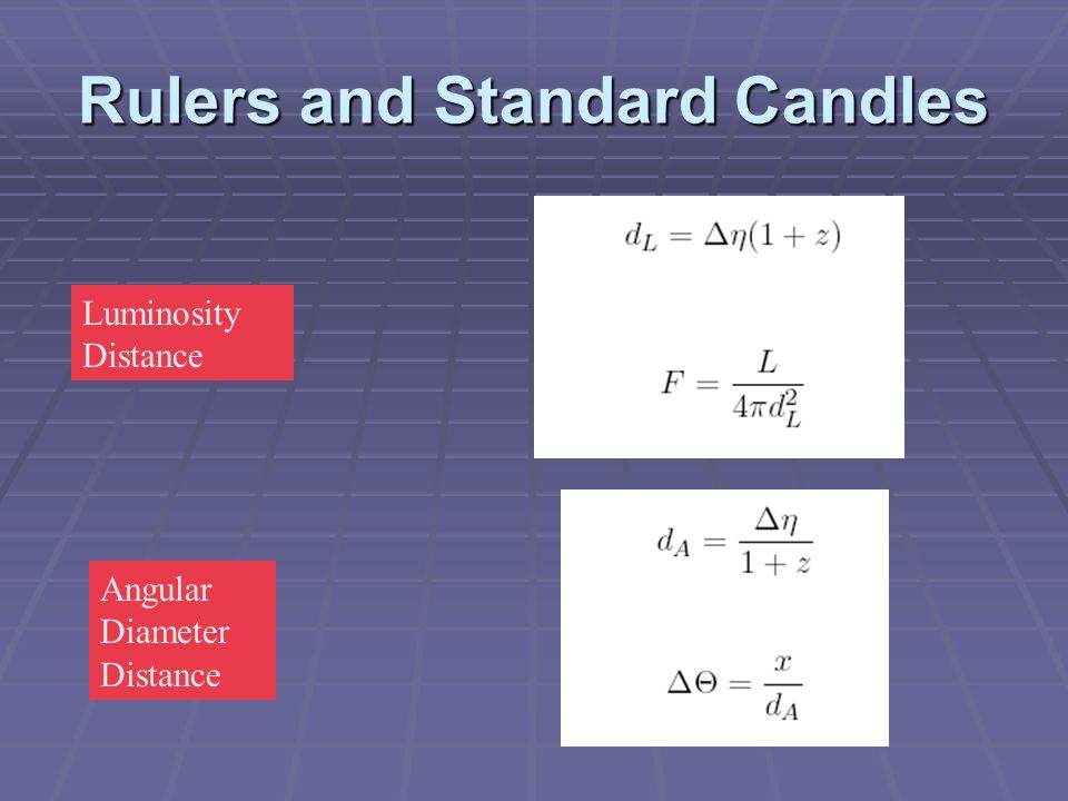 Rulers and Standard Candles Luminosity Distance Angular Diameter Distance