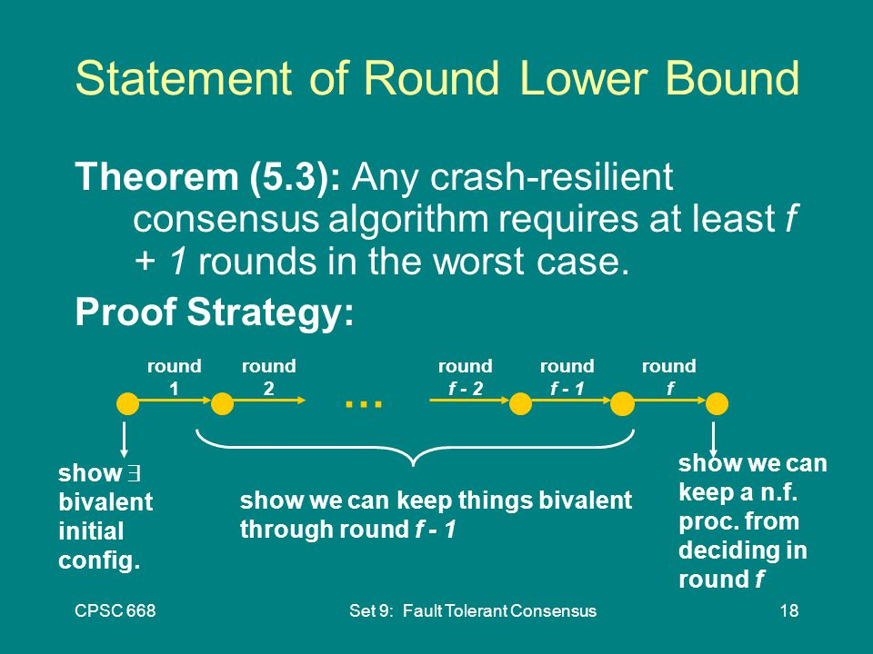 CPSC 668Set 9: Fault Tolerant Consensus18 Statement of Round Lower Bound Theorem (5.3): Any crash-resilient consensus algorithm requires at least f + 1 rounds in the worst case.