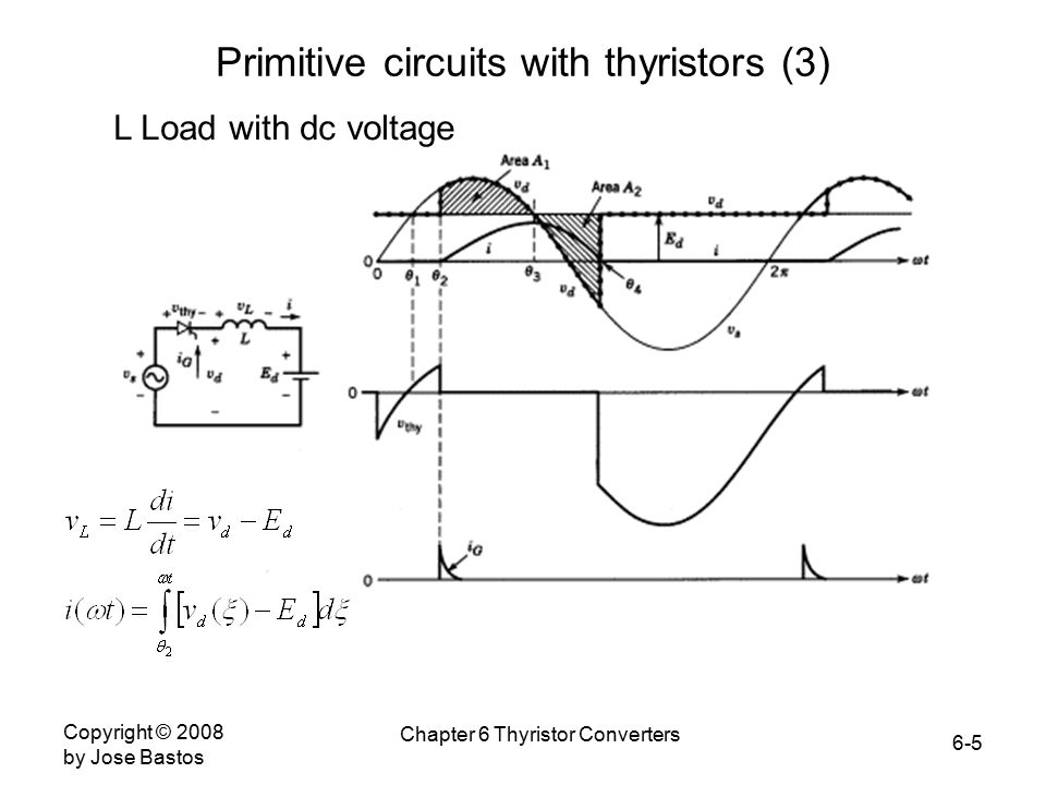 6-5 Copyright © 2008 by Jose Bastos Chapter 6 Thyristor Converters Primitive circuits with thyristors (3) L Load with dc voltage