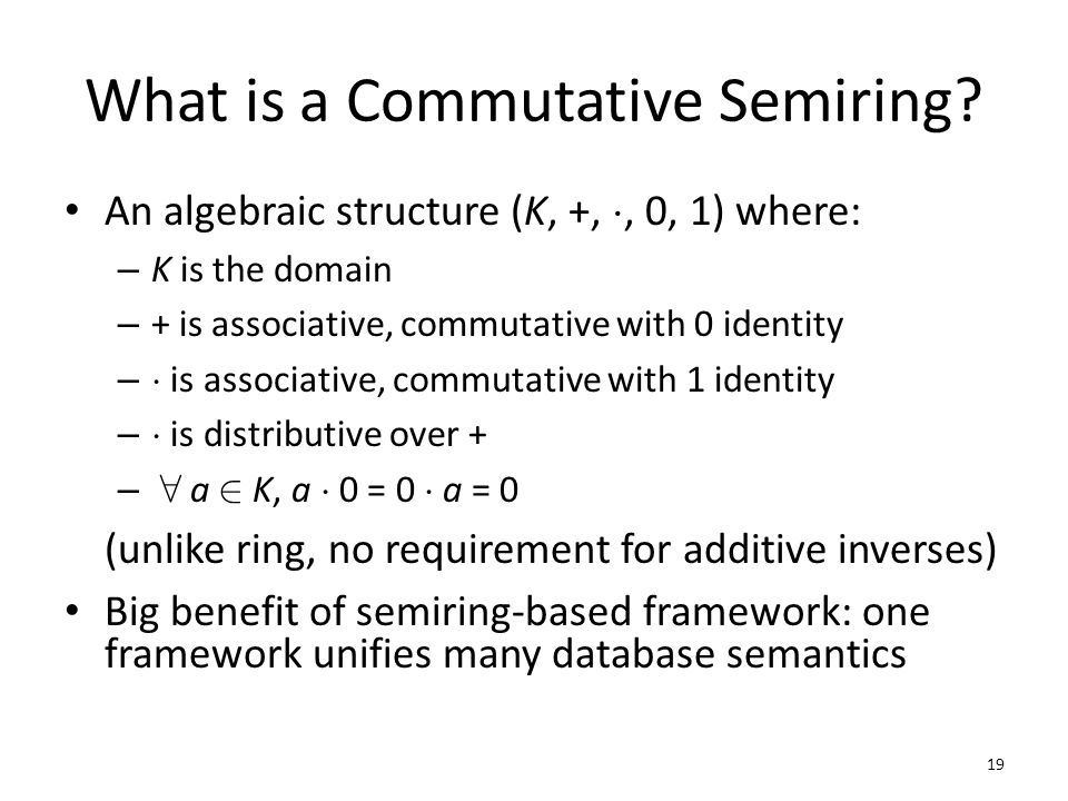 What is a Commutative Semiring.