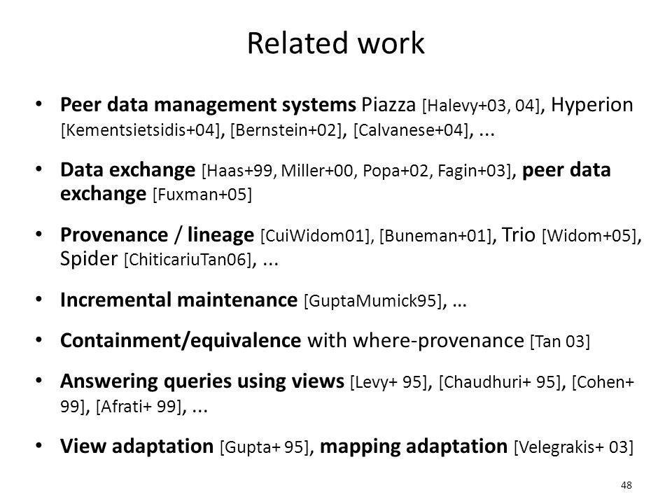 Related work Peer data management systems Piazza [Halevy+03, 04], Hyperion [Kementsietsidis+04], [Bernstein+02], [Calvanese+04],...
