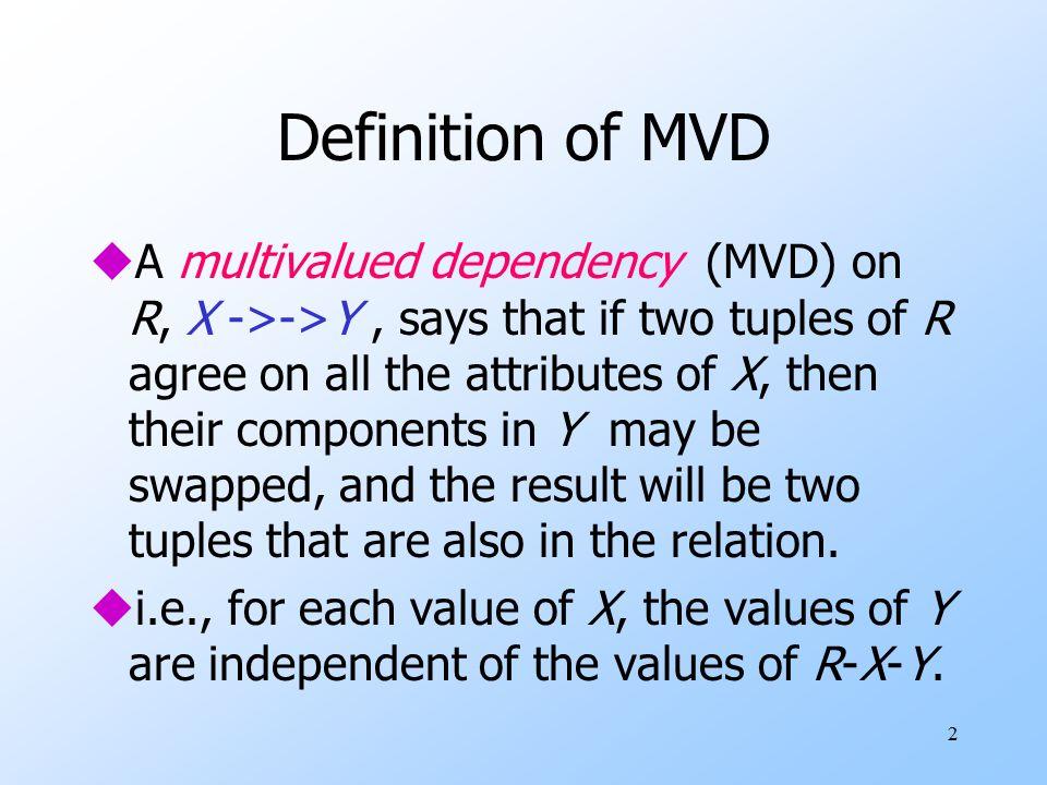 1 Multivalued Dependencies Fourth Normal Form. 2 Definition of MVD ...