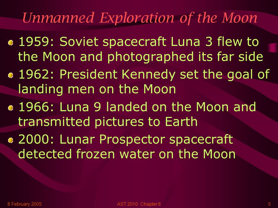 8 February 2005AST 2010: Chapter 85 Unmanned Exploration of the Moon 1959: Soviet spacecraft Luna 3 flew to the Moon and photographed its far side 1962: President Kennedy set the goal of landing men on the Moon 1966: Luna 9 landed on the Moon and transmitted pictures to Earth 2000: Lunar Prospector spacecraft detected frozen water on the Moon