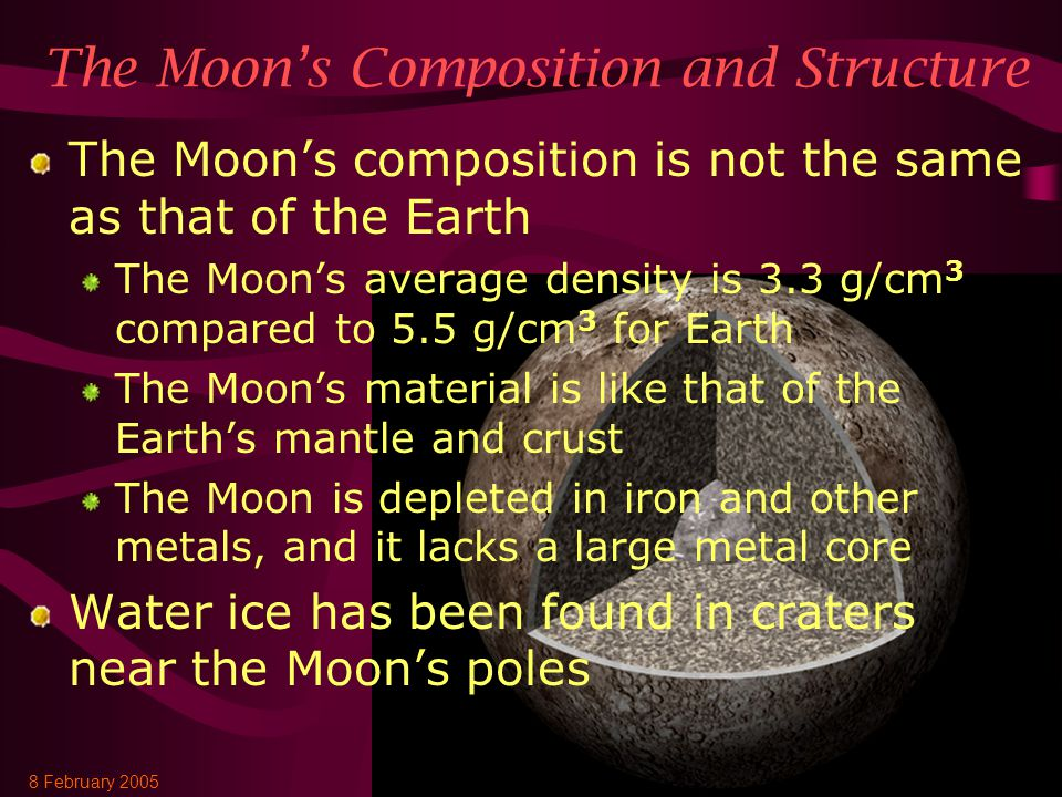 8 February 2005AST 2010: Chapter 87 The Moon's Composition and Structure The Moon's composition is not the same as that of the Earth The Moon's average density is 3.3 g/cm 3 compared to 5.5 g/cm 3 for Earth The Moon's material is like that of the Earth's mantle and crust The Moon is depleted in iron and other metals, and it lacks a large metal core Water ice has been found in craters near the Moon's poles