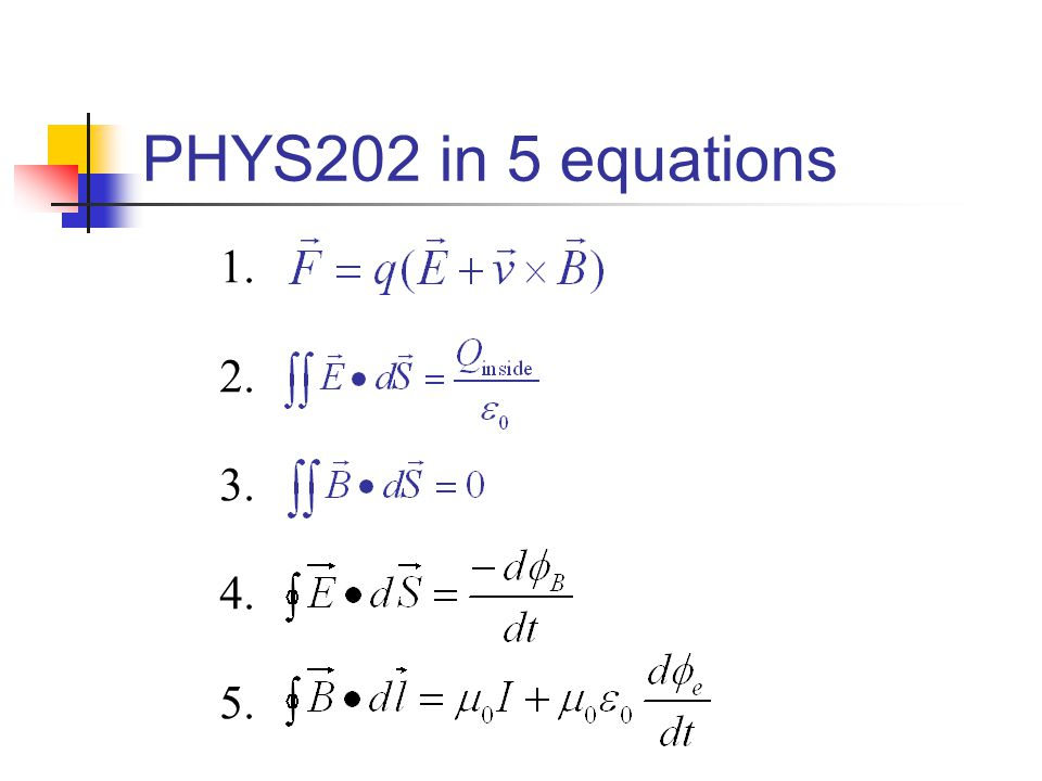 PHYS202 in 5 equations     