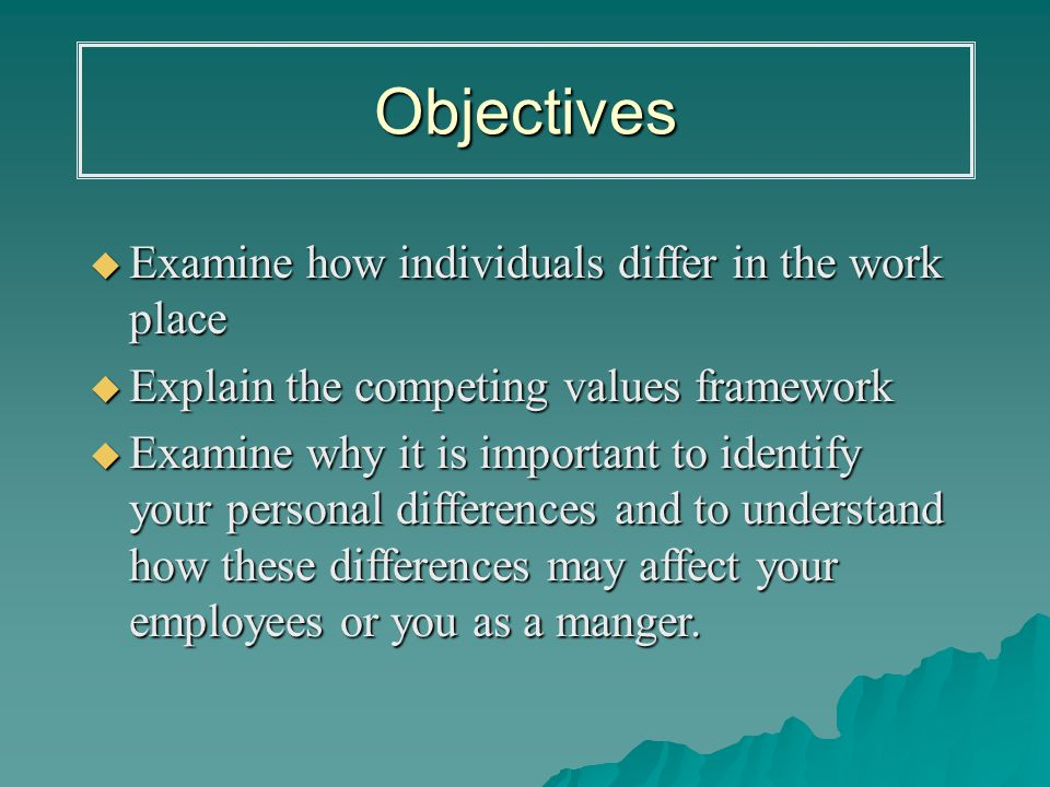 individual differences affecting motivation in work place Increasing productivity with motivation in individual the objective of of motivation in work place is identifying what motivates each individual.
