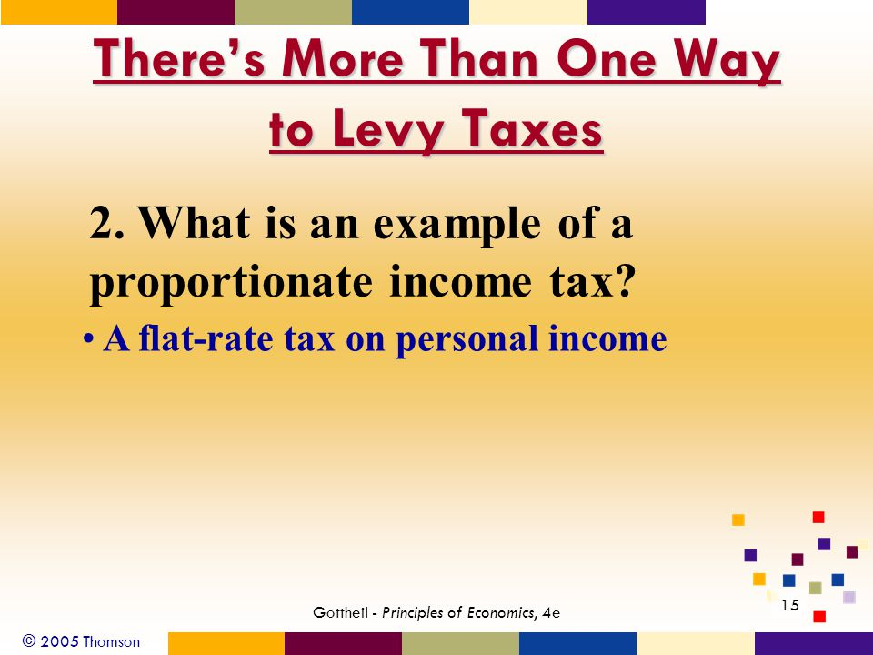 © 2005 Thomson 15 Gottheil - Principles of Economics, 4e There's More Than One Way to Levy Taxes 2.