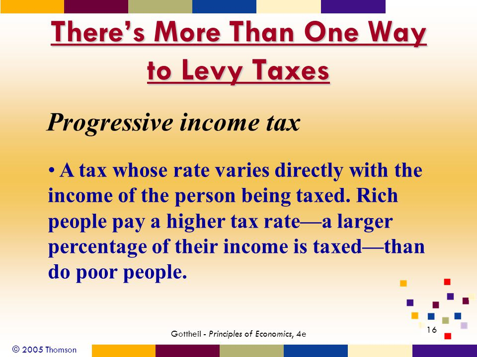 © 2005 Thomson 16 Gottheil - Principles of Economics, 4e There's More Than One Way to Levy Taxes Progressive income tax A tax whose rate varies directly with the income of the person being taxed.