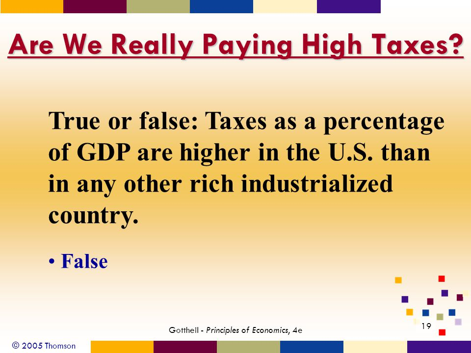 © 2005 Thomson 19 Gottheil - Principles of Economics, 4e Are We Really Paying High Taxes.