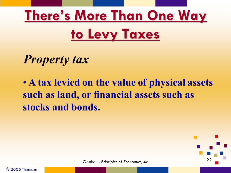 © 2005 Thomson 22 Gottheil - Principles of Economics, 4e There's More Than One Way to Levy Taxes Property tax A tax levied on the value of physical assets such as land, or financial assets such as stocks and bonds.