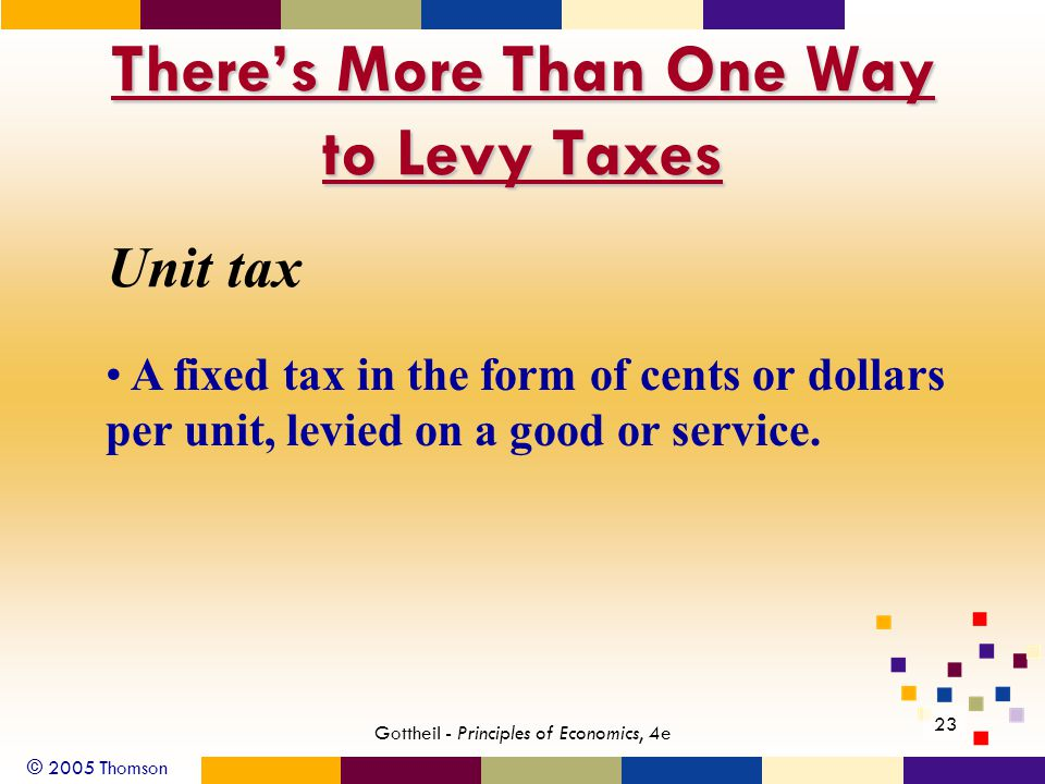 © 2005 Thomson 23 Gottheil - Principles of Economics, 4e There's More Than One Way to Levy Taxes Unit tax A fixed tax in the form of cents or dollars per unit, levied on a good or service.