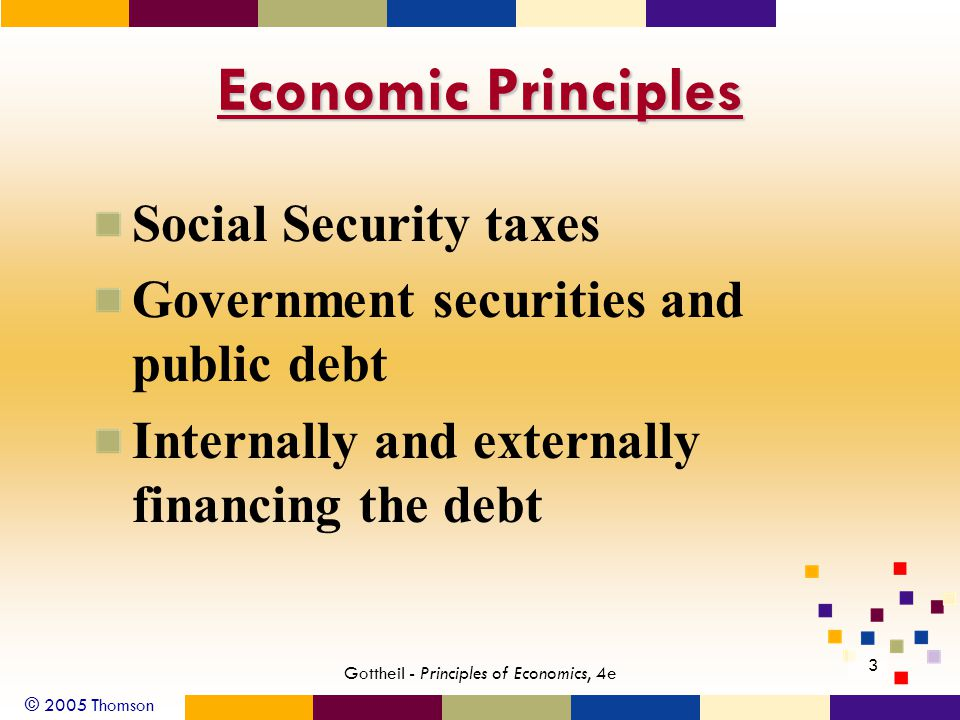 © 2005 Thomson 3 Gottheil - Principles of Economics, 4e Economic Principles Social Security taxes Government securities and public debt Internally and externally financing the debt