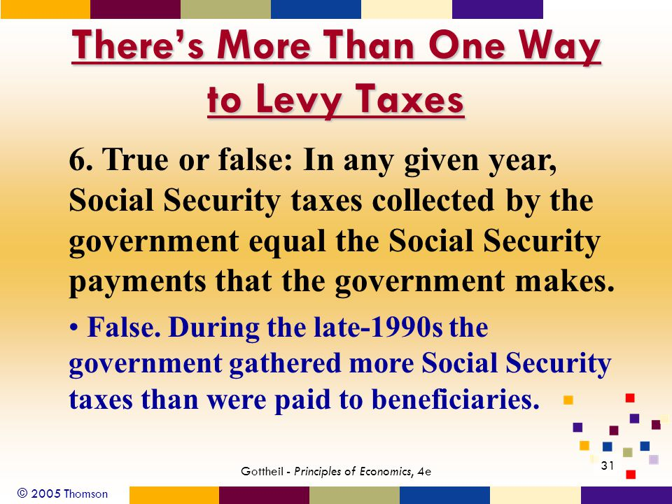© 2005 Thomson 31 Gottheil - Principles of Economics, 4e There's More Than One Way to Levy Taxes 6.