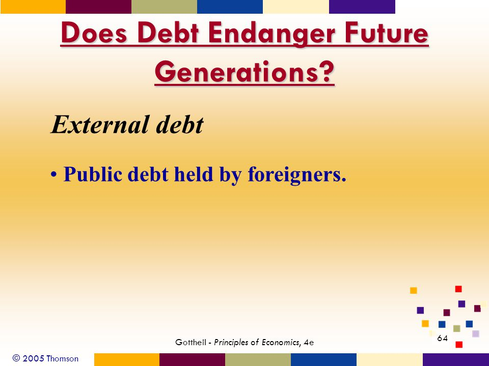 © 2005 Thomson 64 Gottheil - Principles of Economics, 4e Does Debt Endanger Future Generations.