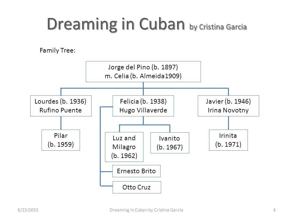 dreaming in cuban essay Please check the attached documentthanks for helping me, i really need a+ on this essay for my finalguidelines sources: you can see about the book, dreaming in cuban written by cristina garcia, through any websites such as as long as it's exactly based on the same.