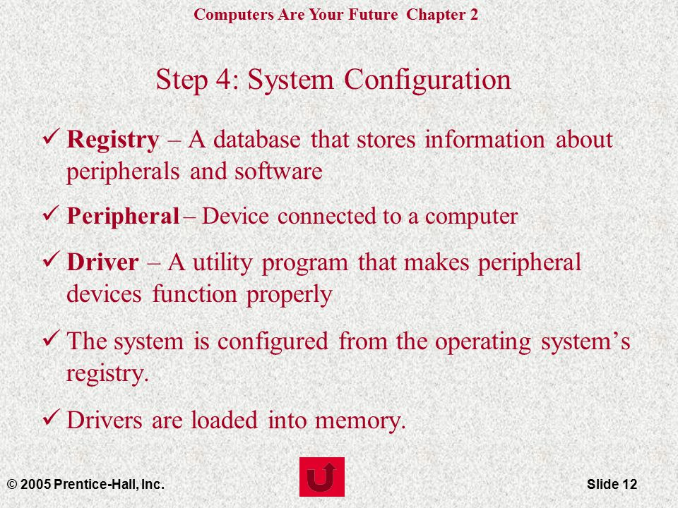 Computers Are Your Future Chapter 2 © 2005 Prentice-Hall, Inc.Slide 12 Step 4: System Configuration Registry – A database that stores information about peripherals and software Peripheral – Device connected to a computer Driver – A utility program that makes peripheral devices function properly The system is configured from the operating system's registry.