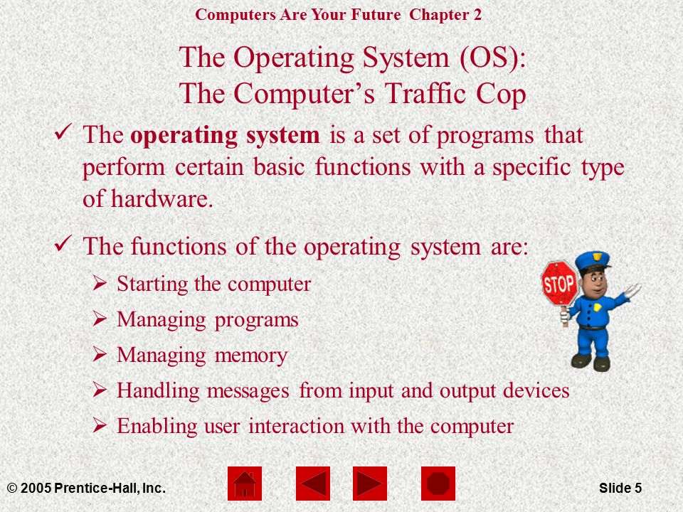 Computers Are Your Future Chapter 2 © 2005 Prentice-Hall, Inc.Slide 5 The Operating System (OS): The Computer's Traffic Cop The operating system is a set of programs that perform certain basic functions with a specific type of hardware.