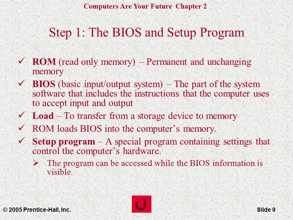 Computers Are Your Future Chapter 2 © 2005 Prentice-Hall, Inc.Slide 9 Step 1: The BIOS and Setup Program ROM (read only memory) – Permanent and unchanging memory BIOS (basic input/output system) – The part of the system software that includes the instructions that the computer uses to accept input and output Load – To transfer from a storage device to memory ROM loads BIOS into the computer's memory.